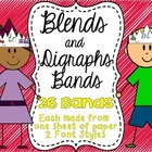 Blends and Digraphs Bands - 26 Bands - 2 Font Styles - Fre
