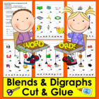 Blends and Digraphs Cut and Glue Blends - Center Cards or