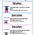 Block Handwriting Poster- Tall, Short and Dive Letter Illu