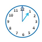 Blue Analog Clock Clip Art in 5 Minute Increments