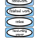 Blue Labels / Signs for Paper Trays in Classroom