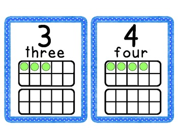 Blue Polk a Dot Number cards 1-20