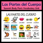 Body Parts Vocabulary Activities & Games Unit (Las Partes