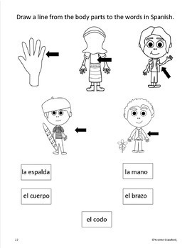 Body Parts in Spanish - vocabulary sheets, worksheets & ma
