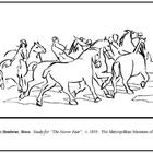 Bonheur. Study for The Horse Fair.  Coloring page & lesson