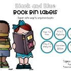 Book Bin Labels- Blue and Black