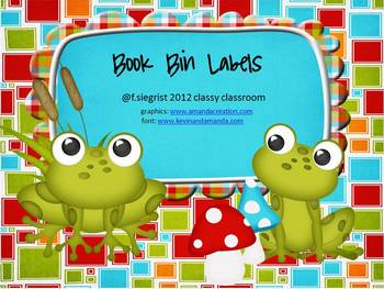Book Bin Labels ~ Frog Theme~EDITABLE