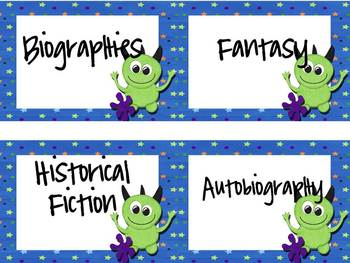 Book Bin Labels ~ Monster Theme