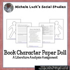 Book Character Analysis Paper Doll Assignment