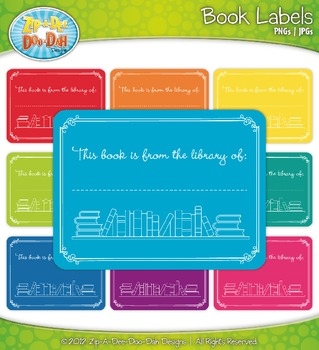 Book Label Clipart — Fun & Bright Rainbow Colors!