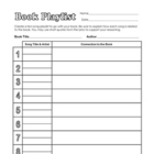 Book Playlist Worksheet - Fun Activity to Connect Music w/