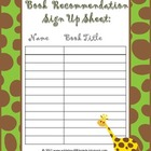 Book Recommendation Sign Up Sheet