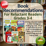 Book Recommendations for Reluctant Readers - Grades 3-4 - FREE