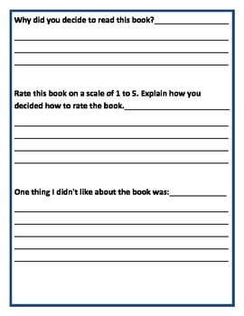 Book Report Template no. 3