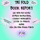 Book Report Trifold Use With Any Novel