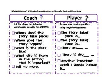 Book Report/Story Summary:Focus on Setting Coach and Player Cards