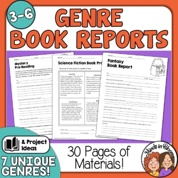 Book Reports and Project Choice Grids for 7 Genres! 30+ pgss