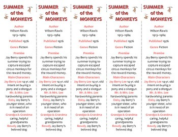 Bookmarks Plus: Summer of the Monkeys--A Handy Reading Aid!