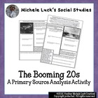 Booming 20s Economy Primary Sources Analysis Activity Hand