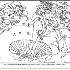 Botticelli. The Birth of Venus.  Coloring page and lesson 