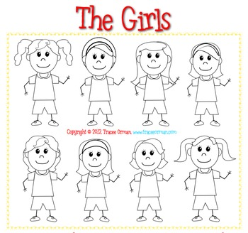 Boys & Girls Cartoon Characters B/W Clip Art for Commercial Use