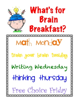 Brain Breakfast Poster {Freebie}