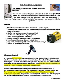 Break an Appliance Science Assessment Task