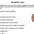 Breakfast Logic Puzzle, Bellringer, Warmup Grades 4 - 7
