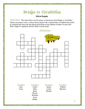 Bridge to Terabithia: 4 Fill-In Word Puzzles--Trial-and-Er