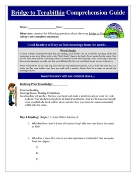 Bridge to Terabithia Reading Super Bundle Activities KEY C