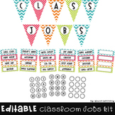 {Editable} Classroom Job Kit in Bright Chevron and Polka Dot