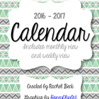Bright Color 2013-2014 Calendar {Month Across 2 Pages]