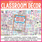 Bright Colors Classroom Decor Pack - 130+ Pages!