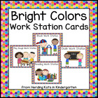 Bright Colors Pocket Chart Work Station Cards