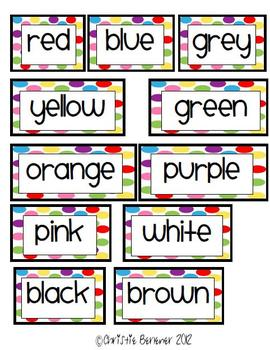 Bright Dots Color Words for Word Wall