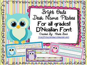 Bright Owls Desk Nameplates D'Nealian