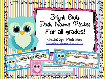 Bright Owls Desk Nameplates for ANY GRADE