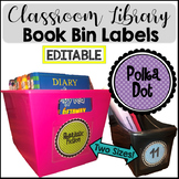 Bright Polka Dot Book Bin Library Labels {EDITABLE}