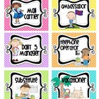 Bright Polka Dot Classroom jobs and blank job cards
