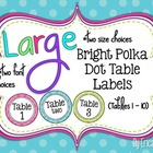 Bright Polka Dot Table Signs (1-10)