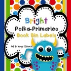 Bright Polka-Primaries: Book Bin Labels (FREE)