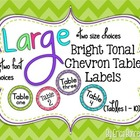 Bright Tonal Chevron Table Signs (1-10)
