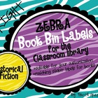 Bright Zebra Print Book Bin Library Labels {EDITABLE}
