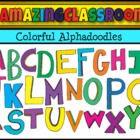 Bright and Colorful Alphadoodles Alphabet Letter Clip Art Set