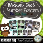 Brown Owl Number Posters 1-20 Chevron Theme Blue, Brown, A
