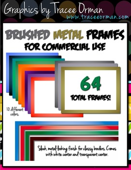 Brushed Metal Clip Art Borders for Commercial Use