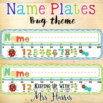 Bug Name Plates with Number Line