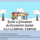 Build A Snowman Articulation Game: s,z,l,r,s-blends, & l-blends