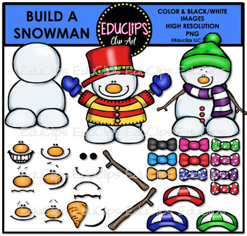 Build A Snowman Clip Art Bundle (Color and B&W)