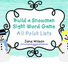 Build a Snowman Sight Word Game - All Lists